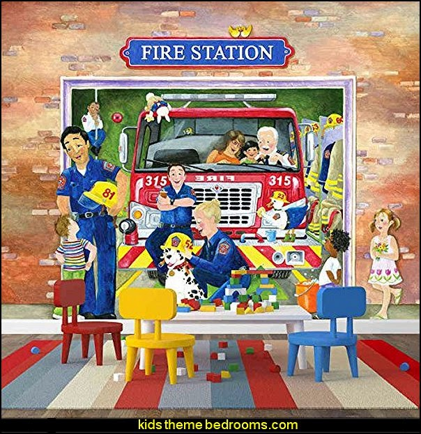 Fire Station wallpaper mural for children fire truck bedroom decor - Firefighter bedding - fireman bedding - fire truck bedroom decorating ideas - flames bedding - Fire Engine Beds - Fire truck bedrooms - dalmatian theme bedrooms
