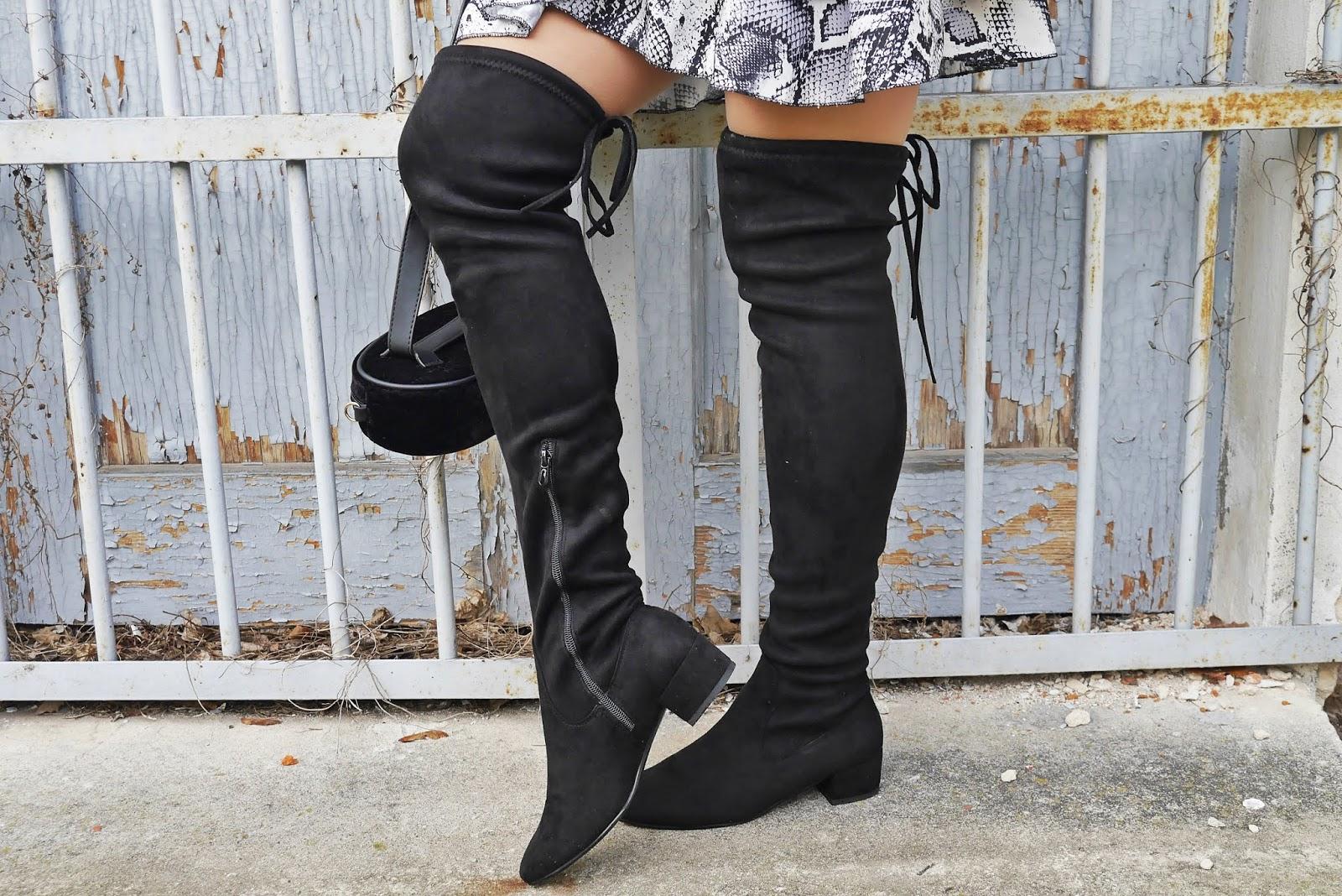 czarne kozaki za kolano renee torebka nerka karyn blog modowy