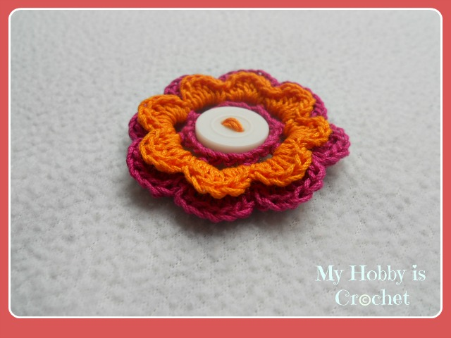 2 Layered 8 Petal Thread Flower- Free crochet pattern with tutorial
