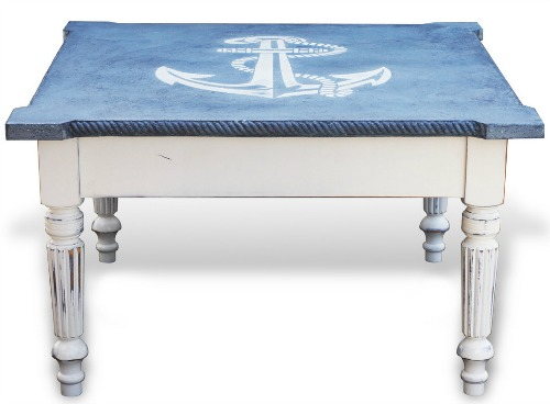 Anchor Coffee Table White and Blue - Nautical Anchor Coffee Table Shop Or DIY - Completely Coastal