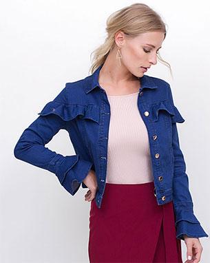 Renner coleção feminina inverno jaqueta jeans com babados