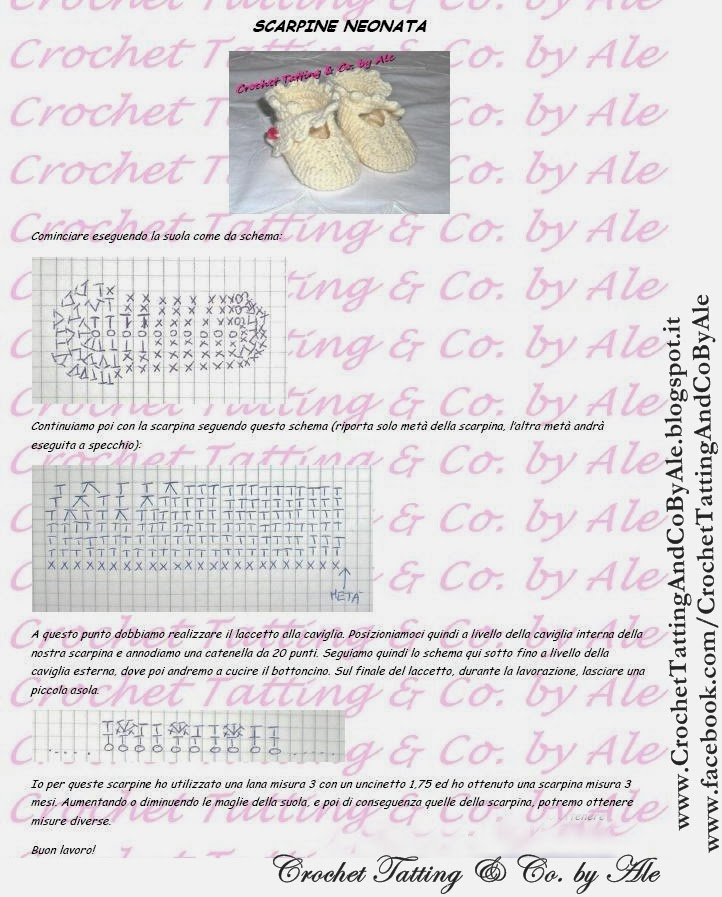 Popolare ♡ Crochet Tatting by Ale ♡: Schema scarpine neonato all' uncinetto SD49