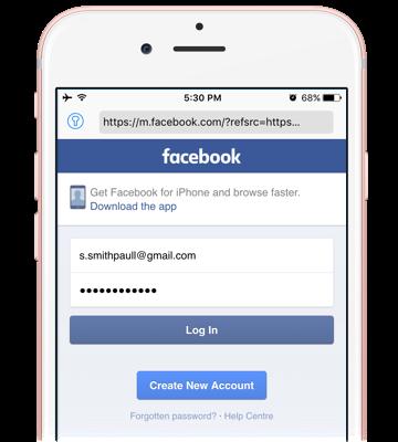 Facebook Mobile Login iPhone 1
