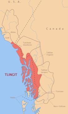 Mapa - Distribuição da Língua Tinglit, no Sul do Alasca