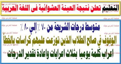 التعليم تعلن النتيجة العشوائية لامتحان العربي وتعيد تقدير اعراب كلمة يوميا بثلاث اجابات