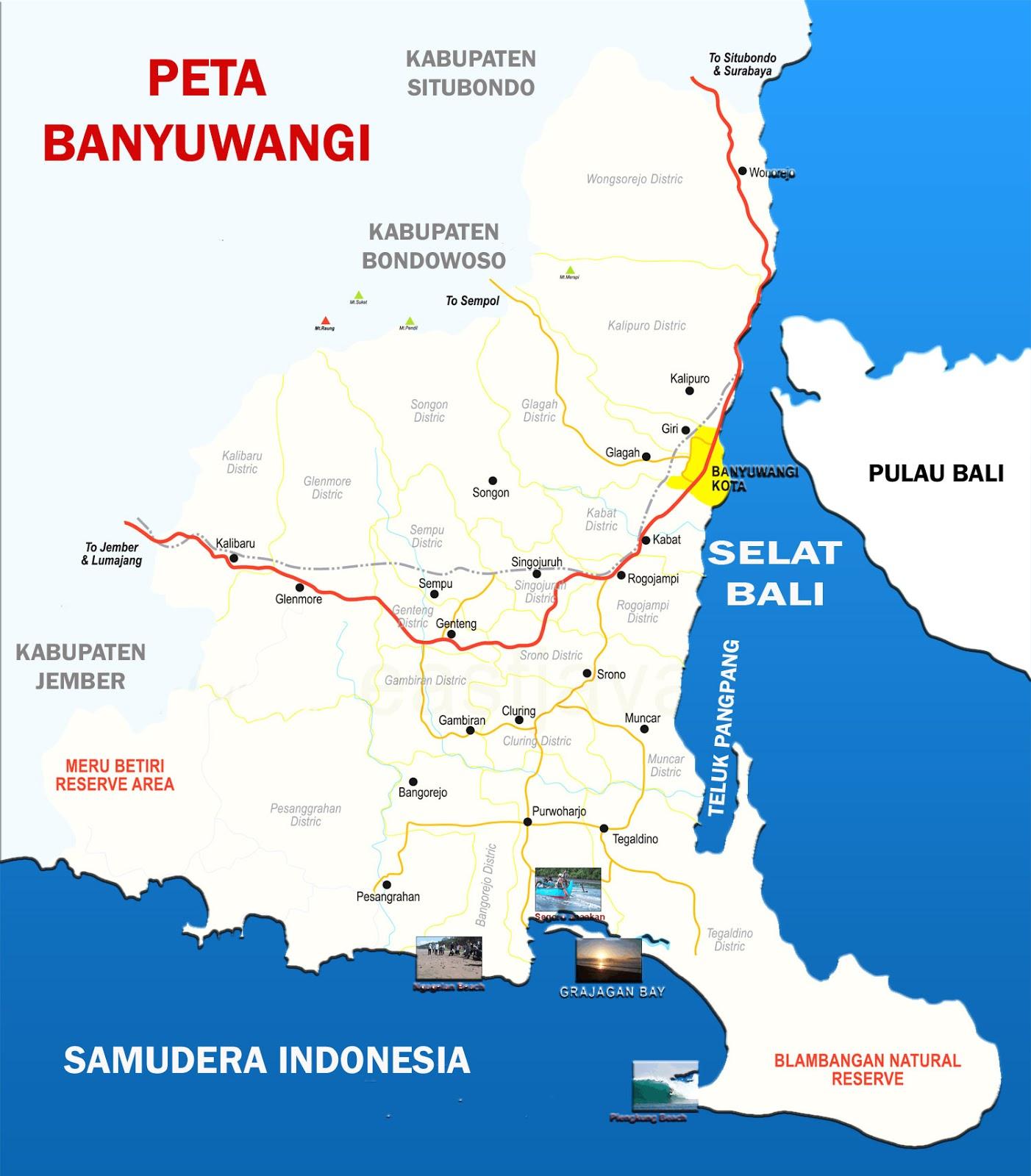 Peta Kabupaten Banyuwangi Lengkap 24 Kecamatan Sejarah Negara Gambar Bali