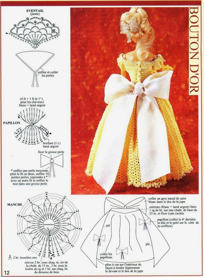 Vestido de Crochê Para Barbie Com Gráfico 1000 Mailles Robes de Poupées