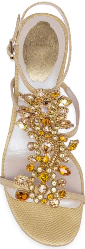 Rene Caovilla Crystal-Embellished Snakeskin T-Strap Block Heel Sandals