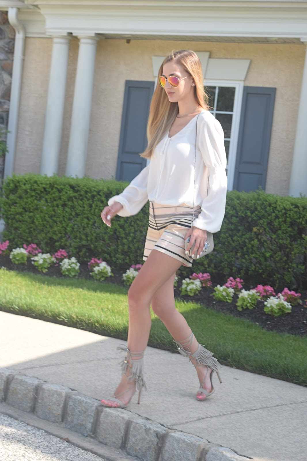 Loft striped shorts, summer shorts and fringe heels, shultz shoes fringe heels look