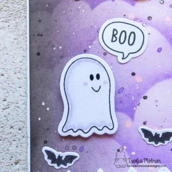 Trick or Treat Slimline Card by Zsofia Molnar | Boo Hoo Stamp Set and Clouds Stencil by Newton's Nook Designs #newtonsnook #handmade