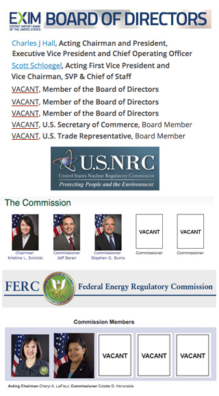 Vacancies in FERC, NRC, Ex-Im Bank