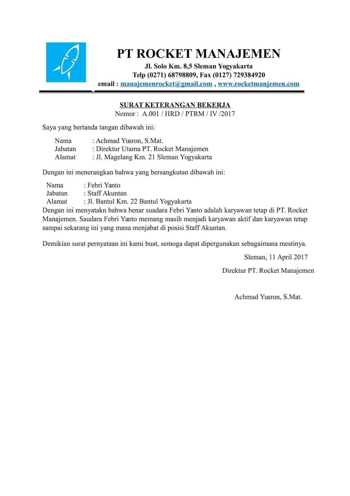 Contoh Surat Pernyataan Perusahaan