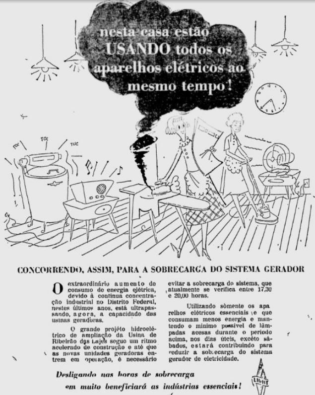 Campanha da Light apresentada nos anos 50 pedindo cautela à população no consumo da energia elétrica