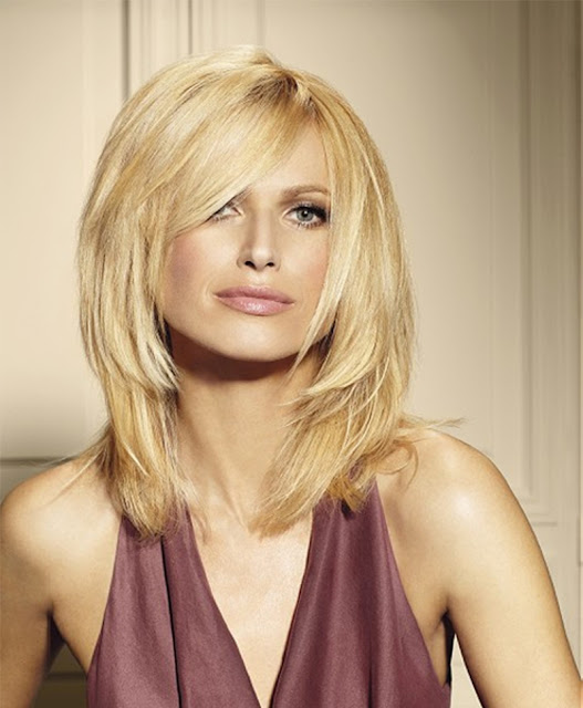 Straight Layered Blonde Hair with Side-Swept Bang
