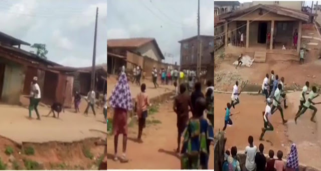 Education Today: Secondary School Students Caught Fighting With Cutlasses In Broad Daylight Over A Girl (Video)