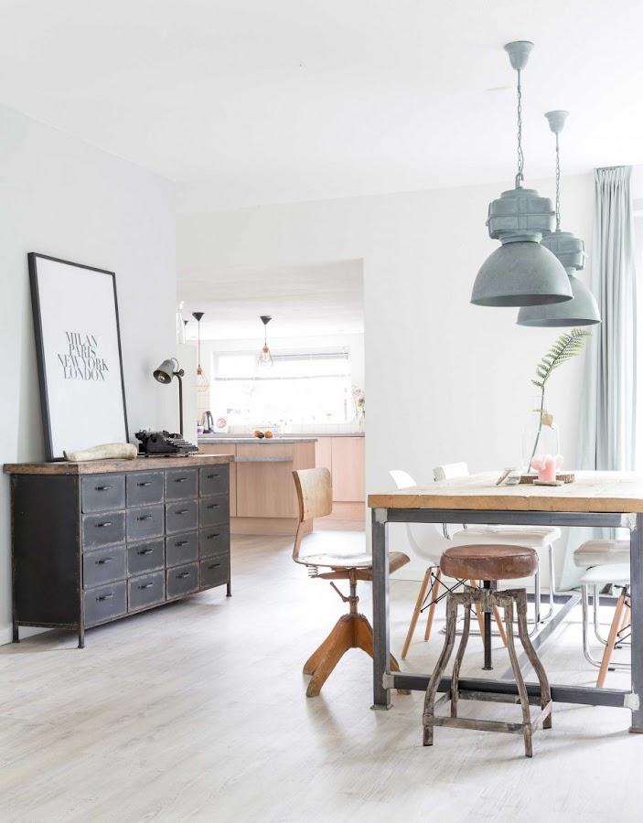 cajonera industrial, mesa industrial, mesa hierro y madera, taburete madera, vintage, decoracion nordica, estilo nordico