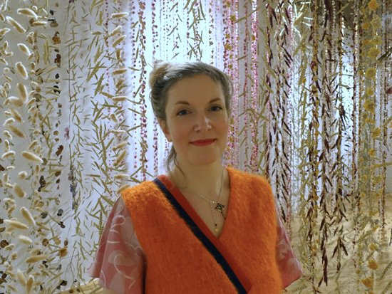 Rebecca Louise Law with her exhibition Life in Death at the Shirley Sherwood Gallery, Kew Gardens