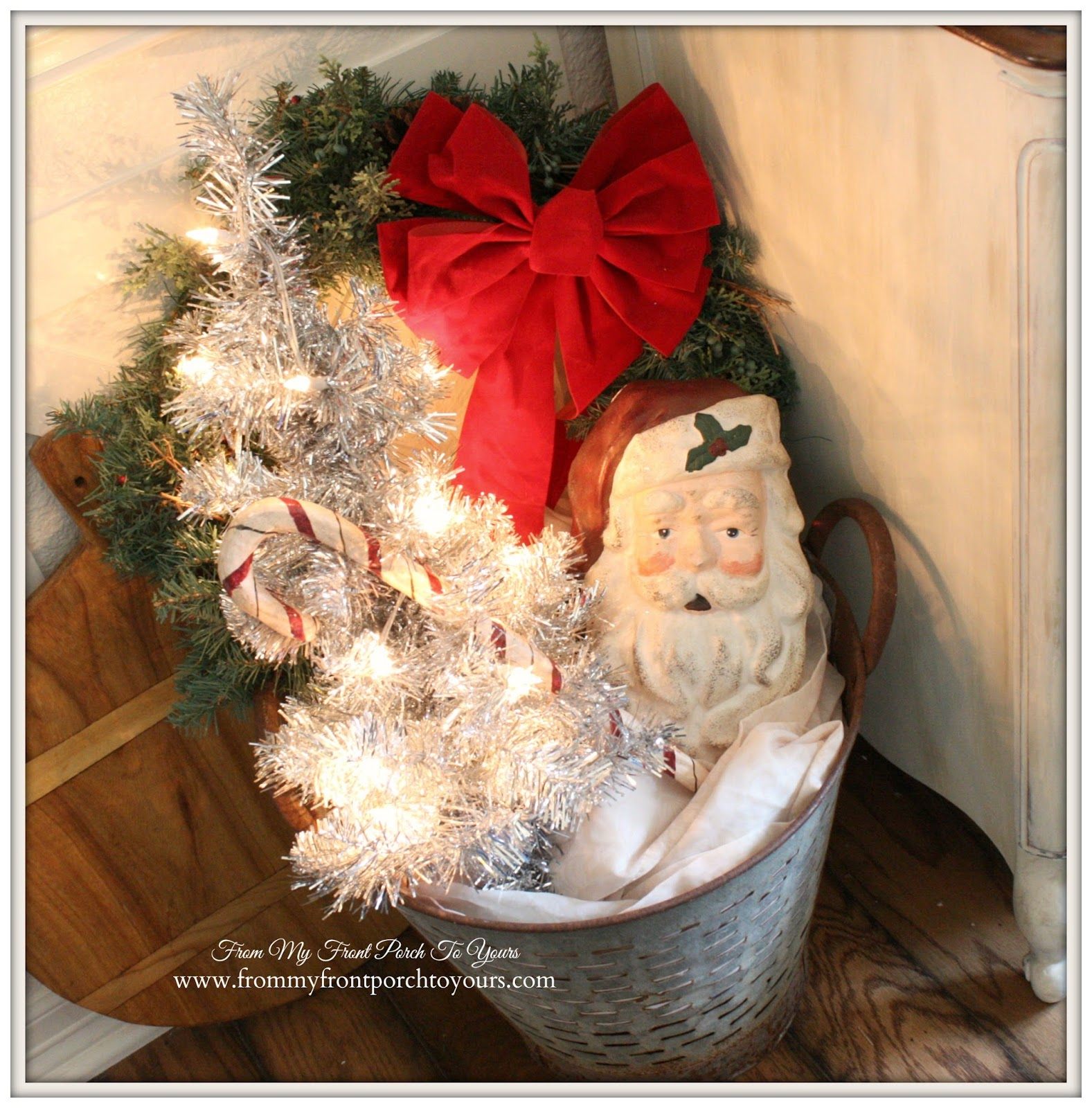 Vintage Olive Bucket-French Farmhouse Vintage Christmas Dining Room- From My Front Porch To Yours