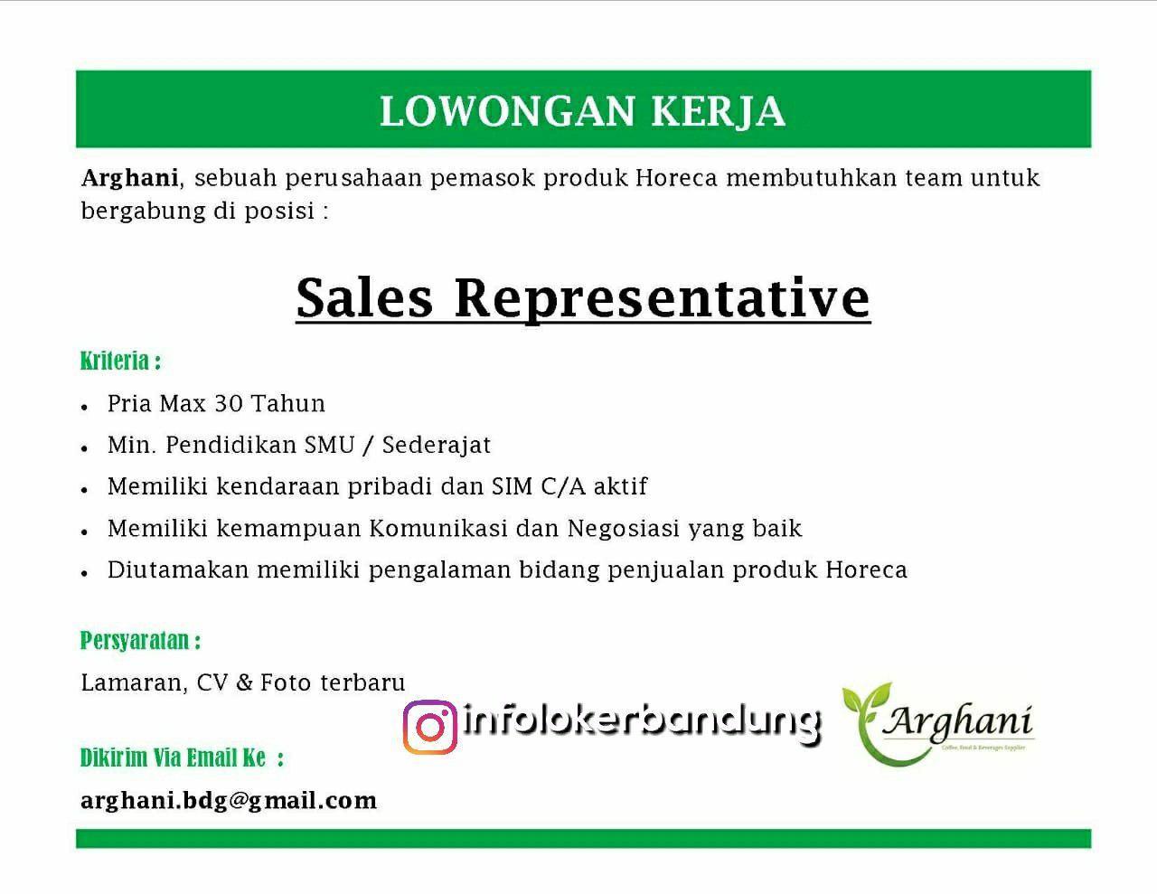Lowongan Kerja Sales Representative Arghani Bandung Juli 2018