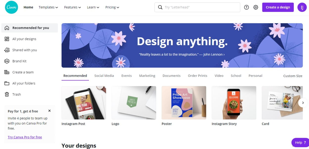 Canva free graphic design and templates blogging tool
