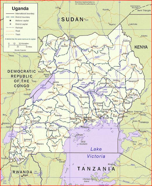 image: Uganda political map