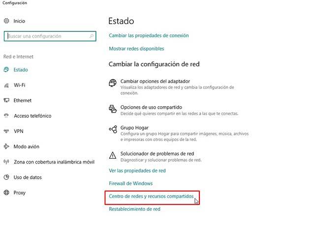 Abrir Configuración de red e internet