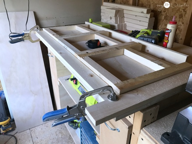 doing a dry fit to make sure my frames fit into the face frame for the kids pull down table or credenza