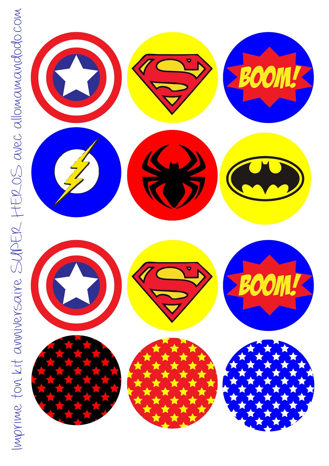 Superheroes Birthday Party: Free Printable Wrappers and Toppers for Cupcakes. - Oh My Fiesta ...
