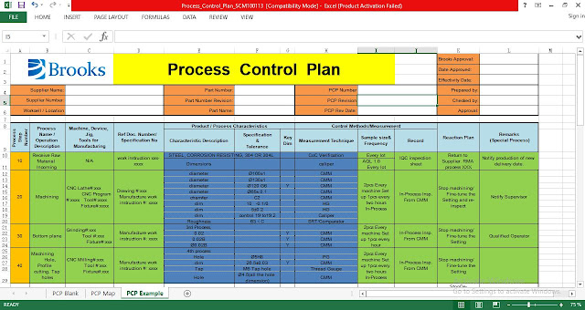 Control Plan Template | Process Control Plan Excel Template Engineering Management
