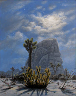 night,nighttime,full,moon,moonlight,moonlit,desert,Joshua Tree,National Park,cholla,monzogranite,rock,clouds