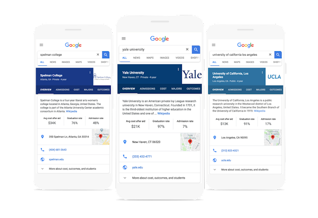 Google College Search adds a new features to help find Good School easily