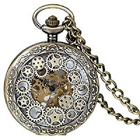 Steampunk accessories for men and women. Antique Skeleton Dial Mechanical Pocket Watch with Metal Gears