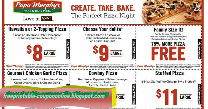graphic about Papa Murphy's Printable Coupon named Printable Discount codes 2019: Papa Murphys Discount codes