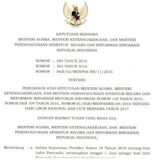 Info!! Libur Nasional dan Cuti Bersama 2017 Tambah 3 Hari