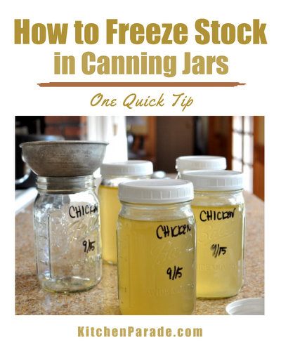 How to Freeze Stock in Canning Jars ♥ KitchenParade.com