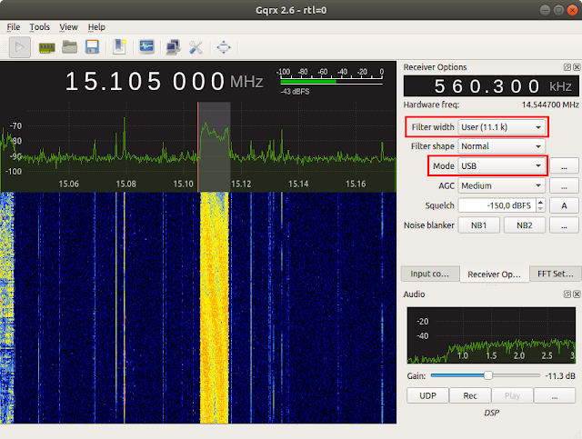 DRM signal displayed by Gqrx