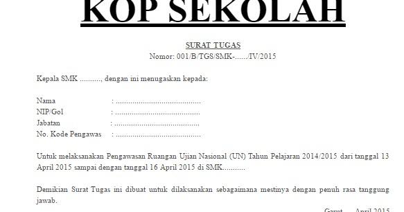 Info Un Contoh Surat Tugas Pengawas Silang Ujian Nasional Un Berkas Sekolah