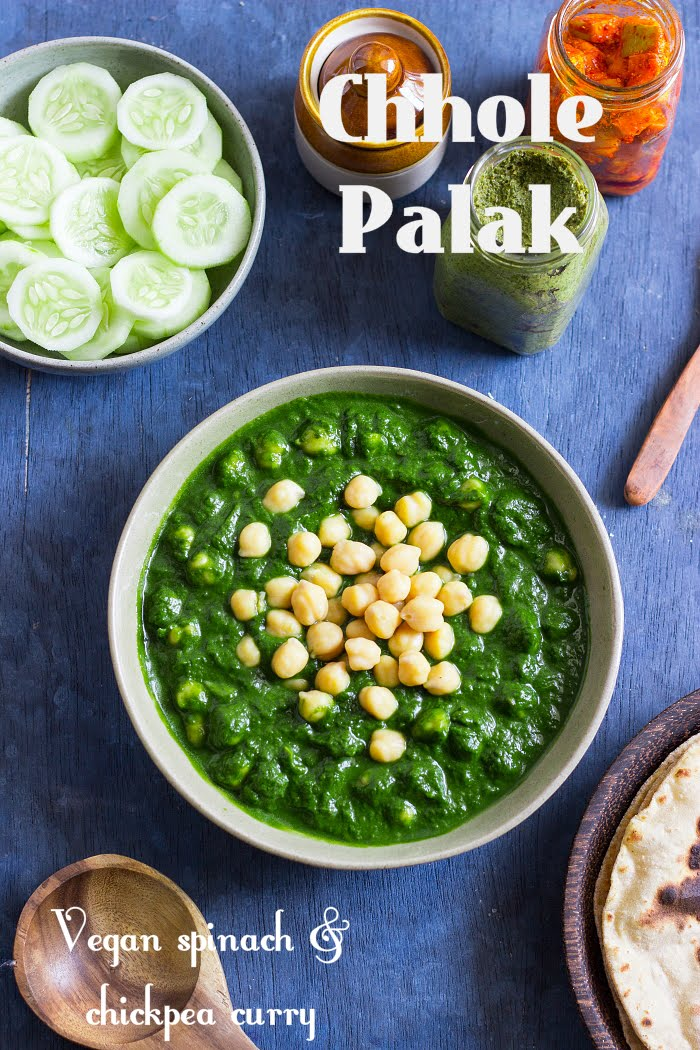 how to make chhole palak recipe, chana palak recipe, spinach and chickpea recipes, vegan curry recipe, vegan chickpea curry at www.oneteaspoonoflife.com