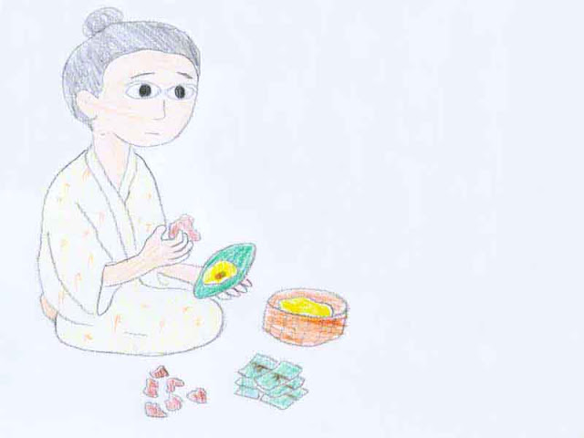 sketch, woman, basket, rice cakes
