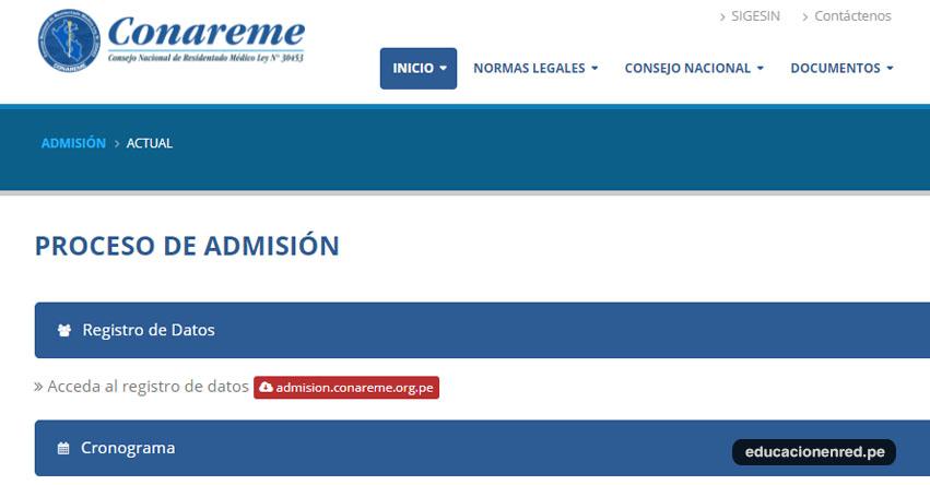 CONAREME 2018: Registro de Datos Admisión al Residentado Médico (Examen 03 Junio) Sistema Nacional de Residentado Médico - www.conareme.org.pe