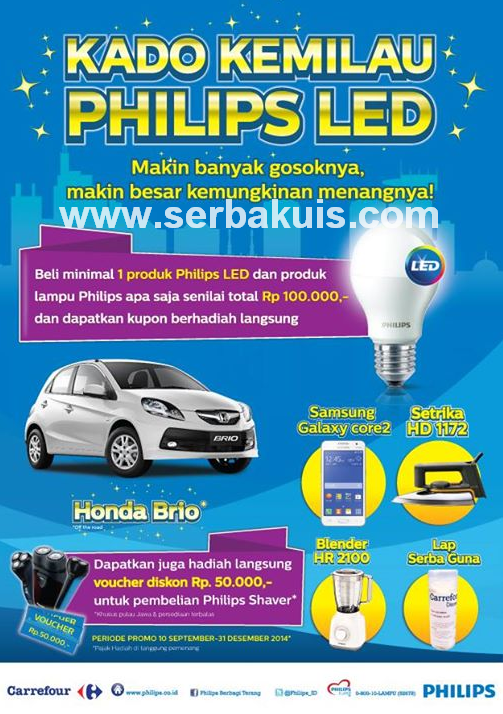 Promo Kado Kemilau Philips LED Berhadiah Utama Mobil Honda Brio