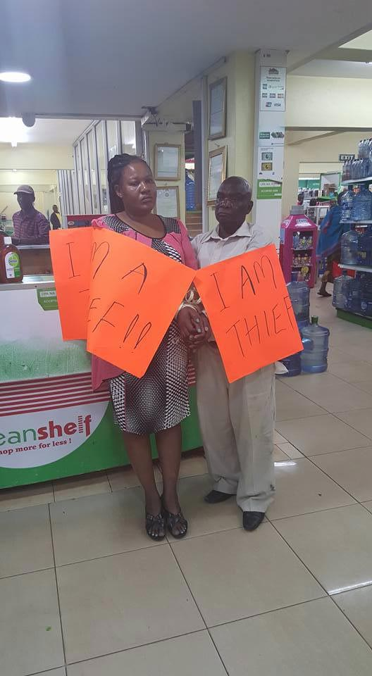 Husband and wife put to shame for stealing in supermarket