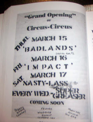"Nasty Lass playing the first Saturday of the brand new Circus-Circus rock club. The flyer was taken from a page inside the Rick Bandazian book ""Rock 'n Roll Meltdown. He was also the owner of the club!"