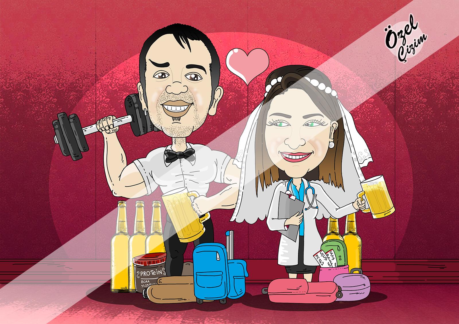 karikatür, düğün hediyesi, karikatürlü düğün davetiyesi, gelin damat karikatür, gelin hediye, evlilik hediye, Özel Çizim, karikatür portre, Hediye Karikatür, karikatür çizim, yeni evli çift,