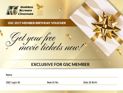 GSC Member Free Movie Tickets Voucher Birthday Month Promo