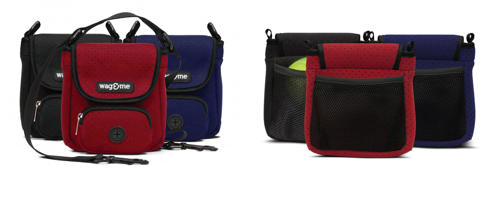 The Poochette dog walking pouches in black, red, blue seen from the front and back