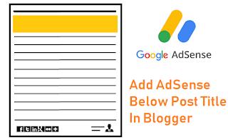 Add AdSense Below Post Title In Blogger