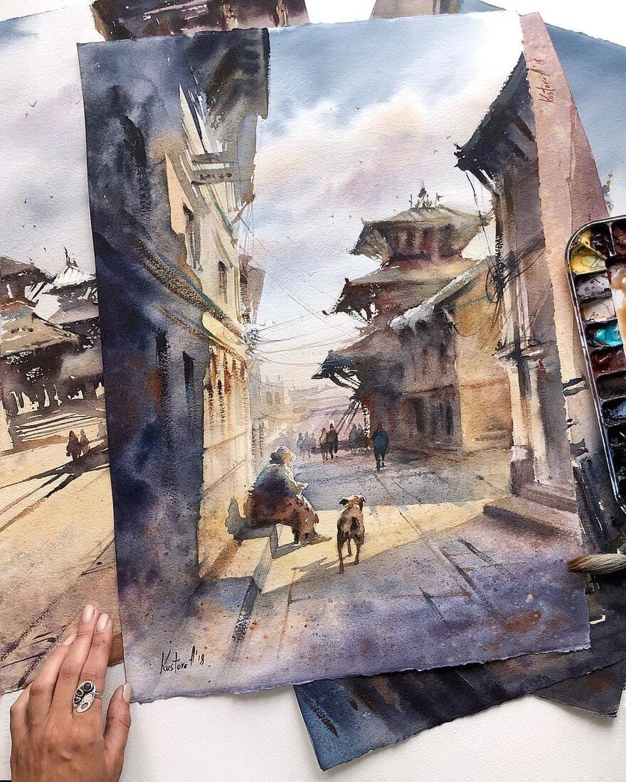 09-Nepal-Anastasia-Kústova-Architectural-Watercolor-Paintings-En-Plein-Air-www-designstack-co
