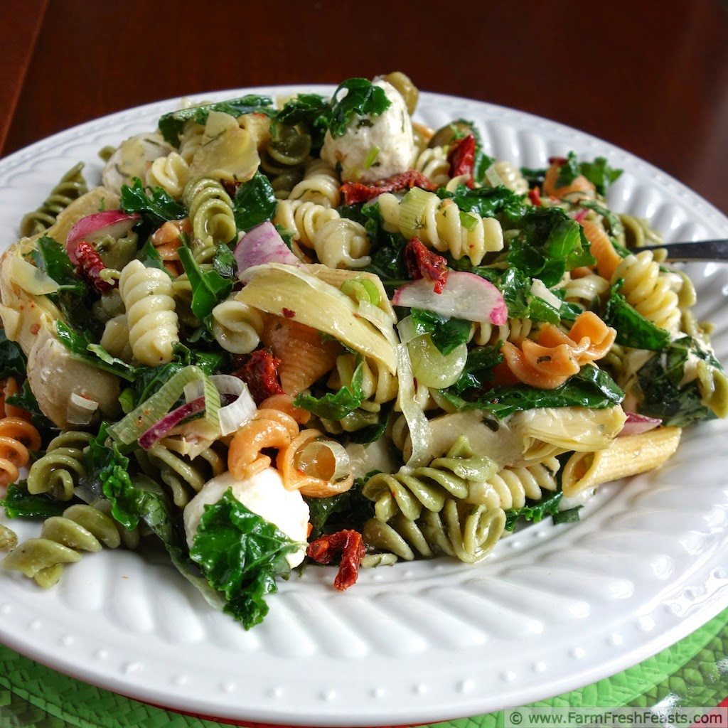 Antipasta Pasta Salad with Kale and Radish | Farm Fresh Feasts