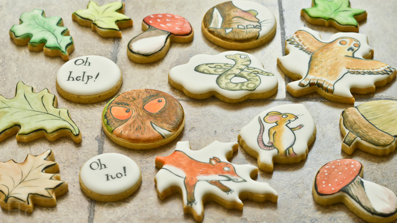 Full set of decorated Gruffalo cookies and photo by Honeycat Cookies